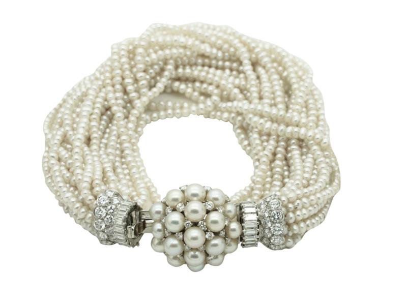 Bracciale perle e diamanti Bulgari anni \'60