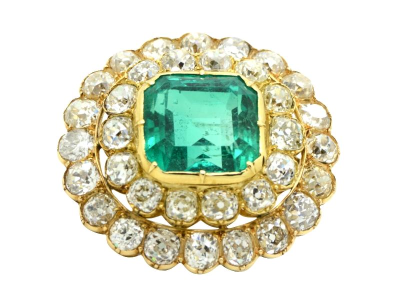 Spilla/pendende smeraldo e diamanti