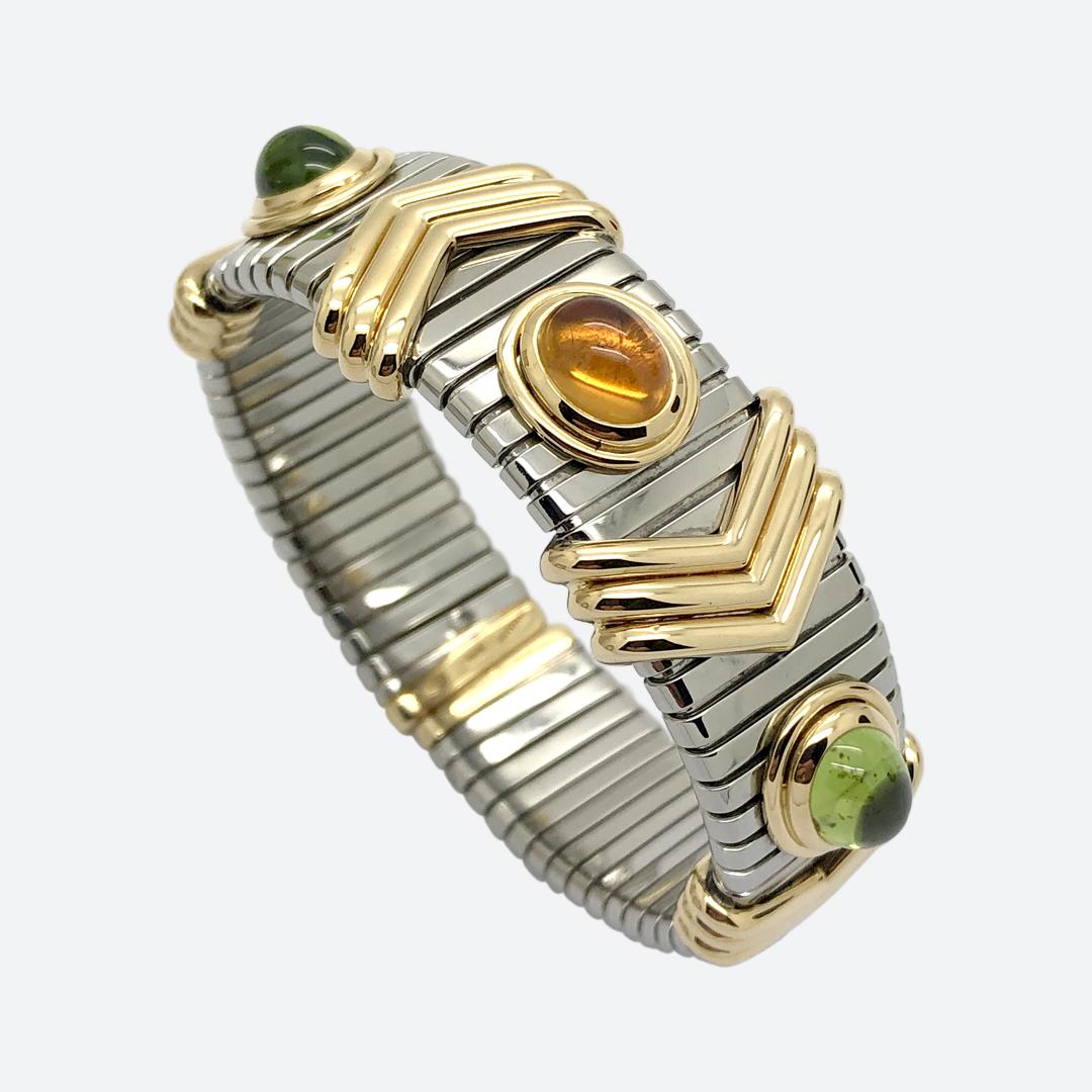 Bracciale acciaio e oro Bulgari