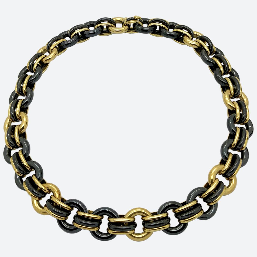 Collana acciaio e oro Faraone