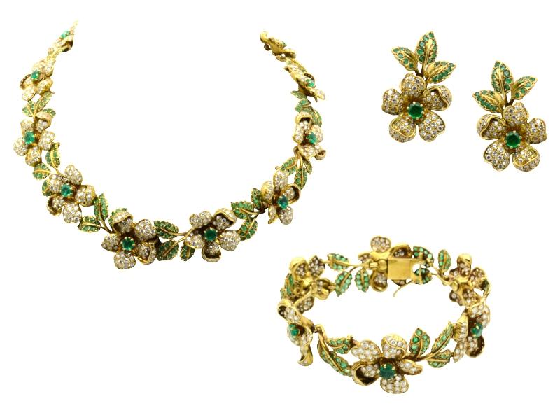 Parure smeraldi e brillanti fiori