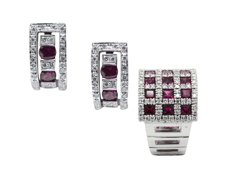 Set anello e orecchini rubini Damiani