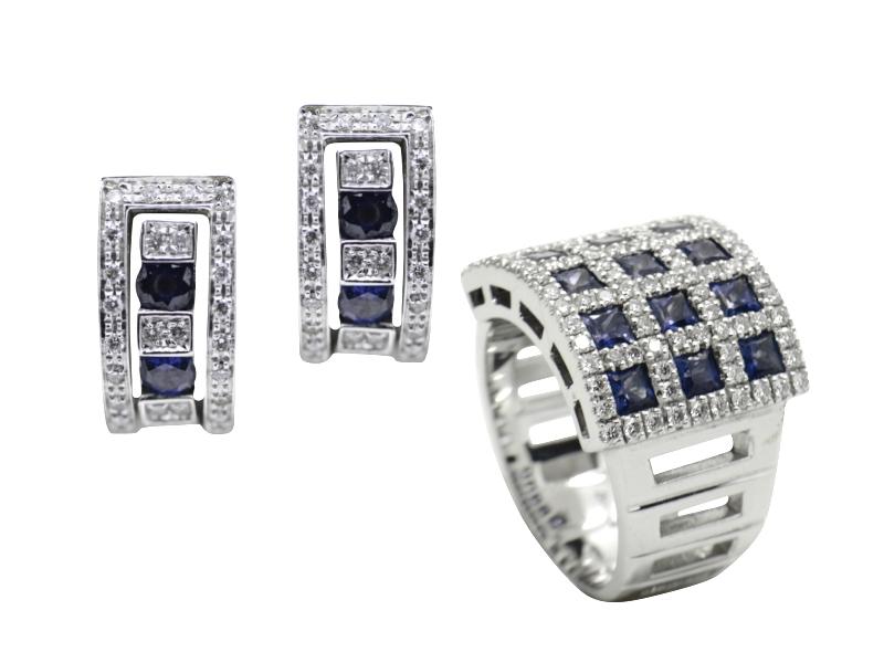 Set anello e orecchini zaffiri Damiani