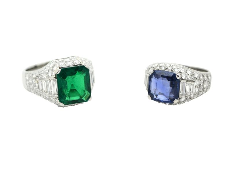 Anelli smeraldo e zaffiro Bulgari anni \'60