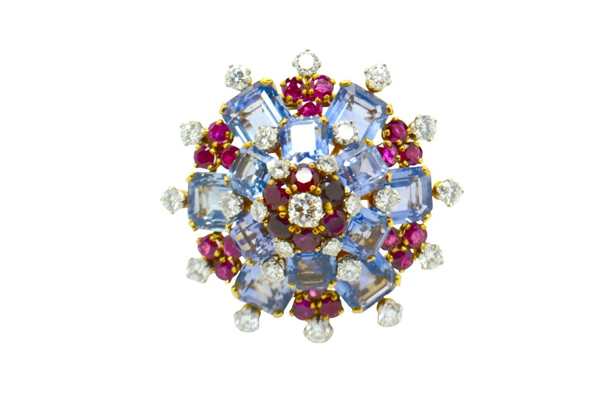 Spilla Bulgari zaffiri rubini e brillanti